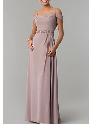 cheap Evening Dresses-Sheath / Column Elegant Pink Wedding Guest Formal Evening Dress Spaghetti Strap Short Sleeve Floor Length Chiffon with Beading Draping 2020