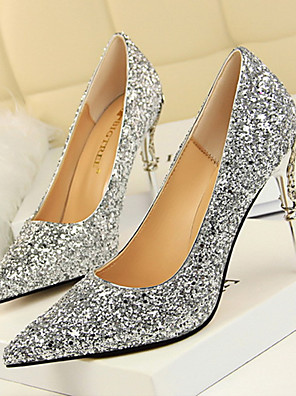 cheap Summer Dresses-Women's Heels Glitter Crystal Sequined Jeweled Stiletto Heel Pointed Toe Synthetics Sweet / Minimalism Walking Shoes Spring &  Fall / Spring & Summer Red / Champagne / Gold / Wedding