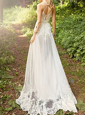 cheap Wedding Dresses-A-Line Wedding Dresses Sweetheart Neckline Court Train Lace Tulle Spaghetti Strap with Sashes / Ribbons 2020