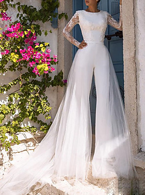cheap Wedding Dresses-Jumpsuits Wedding Dresses Jewel Neck Court Train Lace Tulle Polyester Long Sleeve Illusion Sleeve with Appliques 2020