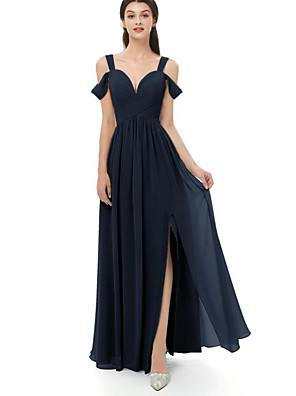 cheap Bridesmaid Dresses-A-Line Straps Floor Length Chiffon Bridesmaid Dress with Split Front / Ruching