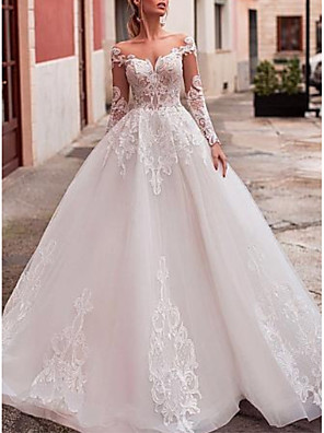 cheap Wedding Dresses-A-Line Wedding Dresses V Neck Court Train Lace Organza Long Sleeve Romantic See-Through Backless Illusion Sleeve with Beading Appliques 2020