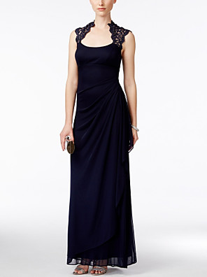 cheap Evening Dresses-Sheath / Column Elegant Formal Evening Dress Scoop Neck Sleeveless Floor Length Chiffon with Ruched Lace Insert Side Draping 2020