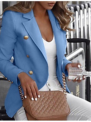 cheap Quartz Watches-Women's Blazer Daily Notch Lapel Classic Regular Solid Colored White / Black / Blue S / M / L