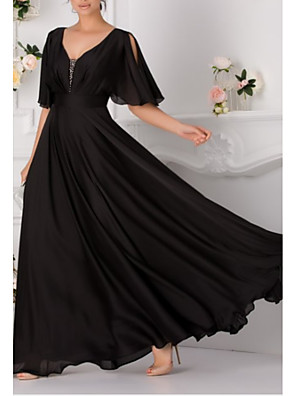 cheap Prom Dresses-A-Line Elegant Formal Evening Dress V Neck Short Sleeve Floor Length Chiffon with Pleats 2020