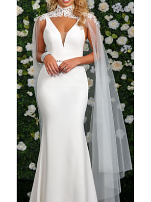 cheap Wedding Dresses-Mermaid / Trumpet Wedding Dresses High Neck Watteau Train Stretch Satin Cap Sleeve Cape with Buttons 2020