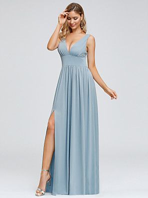 cheap Bridesmaid Dresses-A-Line Plunging Neck Floor Length Spandex / Polyester Bridesmaid Dress with Draping