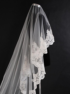 cheap Wedding Veils-One-tier Classic Style / Lace Wedding Veil Cathedral Veils with Solid / Pattern 118.11 in (300cm) POLY / Lace