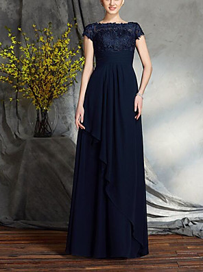 cheap Evening Dresses-A-Line Mother of the Bride Dress Elegant & Luxurious Bateau Neck Floor Length Chiffon Lace Short Sleeve with Sash / Ribbon Ruffles 2020