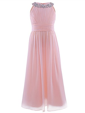 cheap Junior Bridesmaid Dresses-A-Line Round Floor Length Chiffon / Sequined Junior Bridesmaid Dress with Beading / Ruching