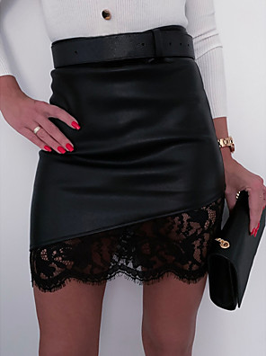 cheap Sexy Bodies-Women's Daily Wear Sexy Mini Bodycon Skirts - Patchwork / Solid Colored Lace / Zipper Black S M L