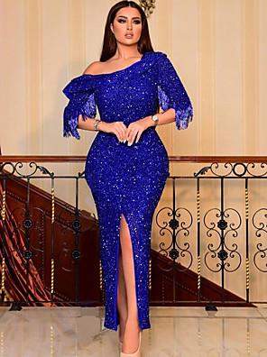 cheap Women's Dresses-Women's Maxi Sheath Dress - Half Sleeve Solid Colored One Shoulder Elegant Slim Blue S M L XL