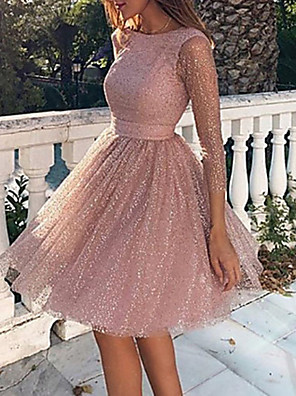 cheap Bridesmaid Dresses-Women's Loose Dress - Long Sleeve Solid Colored Backless Mesh Spring Fall Elegant Sexy Cocktail Party Going out Birthday 2020 Blushing Pink S M L XL XXL