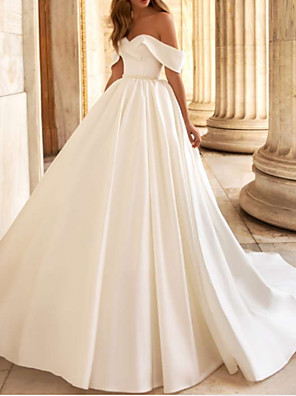 cheap Wedding Dresses-A-Line Wedding Dresses Off Shoulder Court Train Charmeuse Short Sleeve Modern Elegant with Draping 2020