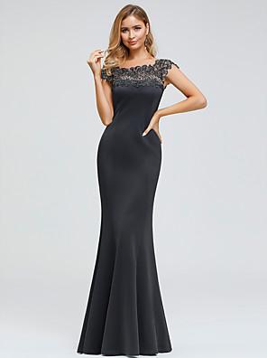 cheap Evening Dresses-Mermaid / Trumpet Elegant Formal Evening Dress Jewel Neck Short Sleeve Floor Length Spandex Polyester with Appliques 2020