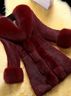 povoljno Ženske kaputi od kože i umjetne kože-Žene Dnevno Dug Faux Fur Coat, Jednobojni V izrez Dugih rukava Umjetno krzno Crn / Lila-roza / Obala