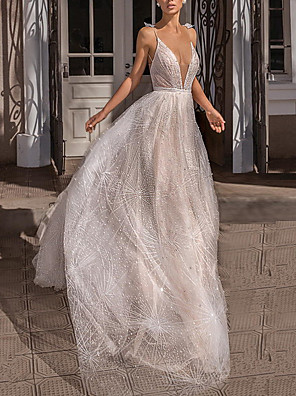 cheap Bridesmaid Dresses-Mermaid / Trumpet Plunging Neck Sweep / Brush Train Polyester Bridesmaid Dress with Lace / Open Back