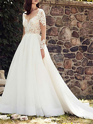 cheap Wedding Dresses-A-Line Wedding Dresses V Neck Court Train Lace Tulle Long Sleeve Illusion Sleeve with 2020