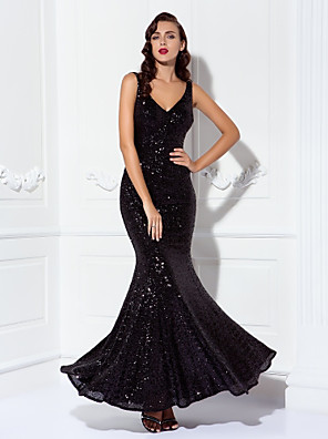 cheap Evening Dresses-Sheath / Column Elegant Sparkle & Shine Prom Formal Evening Dress V Neck Sleeveless Floor Length Sequined with Sequin 2020
