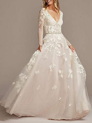 cheap Wedding Dresses-A-Line Wedding Dresses V Neck Court Train Tulle Long Sleeve See-Through Backless Illusion Sleeve with Beading Appliques 2020
