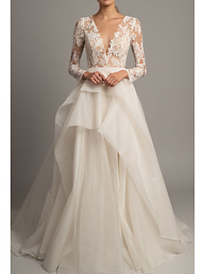 cheap Evening Dresses-A-Line Wedding Dresses V Neck Court Train Lace Tulle Long Sleeve Romantic Sexy Backless Illusion Sleeve with Embroidery 2020