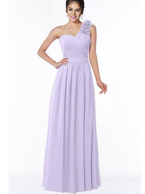 cheap Bridesmaid Dresses-A-Line One Shoulder Floor Length Chiffon Bridesmaid Dress with Appliques / Ruching