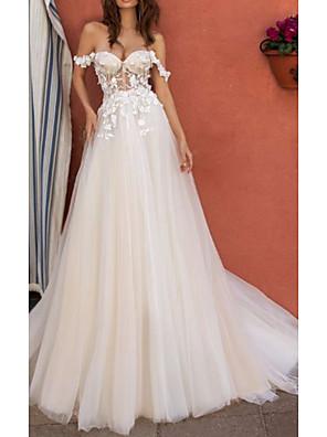 cheap Wedding Dresses-A-Line Wedding Dresses Off Shoulder Floor Length Tulle Regular Straps Boho with Draping Appliques 2020