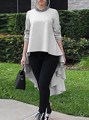 cheap Print Dresses-Women's Asymmetrical A Line Dress - Long Sleeve Solid Colored Black Gray S M L XL XXL