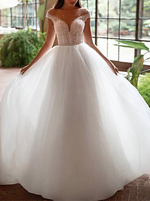 cheap Wedding Dresses-A-Line Wedding Dresses Off Shoulder Court Train Tulle Cap Sleeve with Beading Embroidery 2020