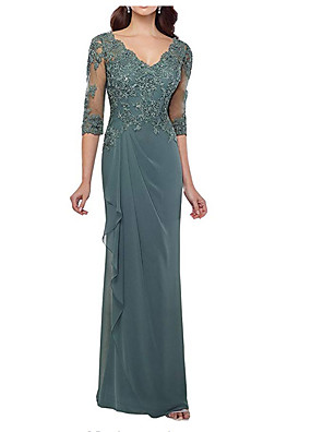cheap Evening Dresses-Sheath / Column Elegant Formal Evening Dress Plunging Neck Half Sleeve Floor Length Chiffon Tulle with Ruffles Lace Insert Side Draping 2020