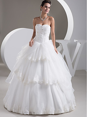 cheap Wedding Dresses-Ball Gown Wedding Dresses Sweetheart Neckline Floor Length Lace Organza Satin Strapless with Pick Up Skirt Beading Appliques 2020
