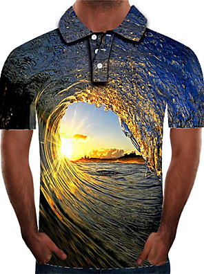 cheap Men's Polos-Men's Daily Plus Size Polo Graphic Print Short Sleeve Slim Tops Streetwear Exaggerated Shirt Collar Rainbow