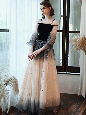 cheap Evening Dresses-A-Line Color Block Black Prom Formal Evening Dress Scoop Neck 3/4 Length Sleeve Floor Length Lace Satin Velvet with Sequin 2020