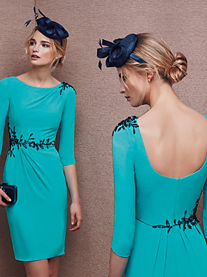 cheap Wedding Dresses-Sheath / Column Elegant Turquoise / Teal Wedding Guest Cocktail Party Dress Jewel Neck Half Sleeve Knee Length Polyester with Appliques 2020