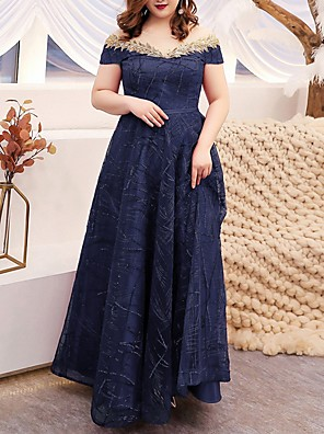 cheap Bridesmaid Dresses-A-Line Off Shoulder Floor Length Polyester Bridesmaid Dress with Sequin / Appliques