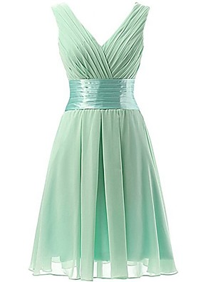 cheap Bridesmaid Dresses-A-Line V Neck Short / Mini Polyester Bridesmaid Dress with Ruching