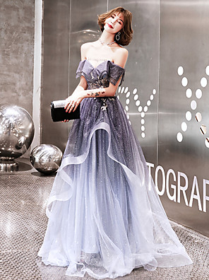 cheap Cocktail Dresses-A-Line Elegant Sparkle & Shine Prom Formal Evening Dress Off Shoulder Short Sleeve Sweep / Brush Train Tulle with Beading Sequin 2020