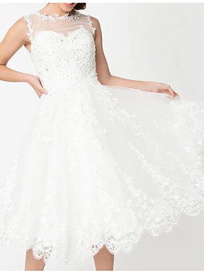 cheap Wedding Dresses-A-Line Wedding Dresses Jewel Neck Knee Length Lace Tulle Regular Straps Vintage Little White Dress 1950s Cute with Draping Embroidery Appliques 2020