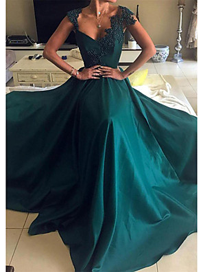 cheap Evening Dresses-A-Line Sexy Green Prom Formal Evening Dress Scalloped Neckline Sleeveless Court Train Satin with Beading Appliques 2020