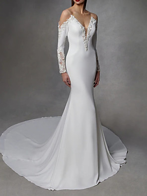 cheap Wedding Dresses-Mermaid / Trumpet Wedding Dresses V Neck Court Train Stretch Satin Lace Over Satin Long Sleeve with Embroidery 2020