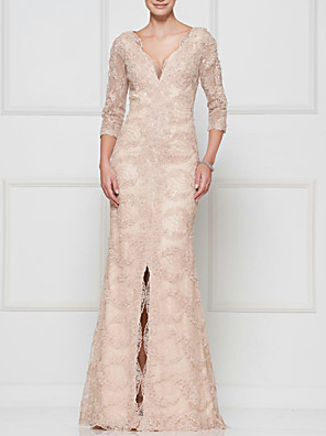 cheap Special Occasion Dresses-Mermaid / Trumpet Mother of the Bride Dress Elegant & Luxurious Plunging Neck Floor Length Lace Satin 3/4 Length Sleeve with Split Front 2020
