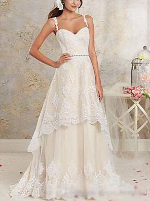 cheap Bridesmaid Dresses-A-Line Wedding Dresses Sweetheart Neckline Sweep / Brush Train Asymmetrical Lace Tulle Lace Over Satin Spaghetti Strap Cute with Appliques 2020