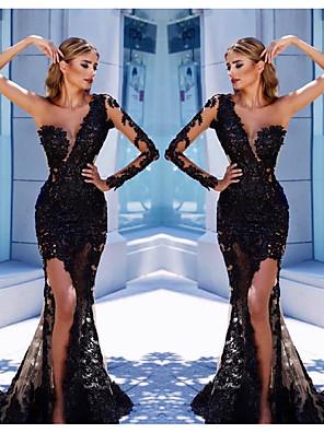 cheap Wedding Dresses-Mermaid / Trumpet Elegant Formal Evening Dress One Shoulder Long Sleeve Court Train Tulle with Appliques Split Front 2020