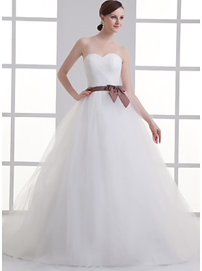 cheap Wedding Dresses-A-Line Wedding Dresses Sweetheart Neckline Court Train Lace Satin Tulle Strapless with Sashes / Ribbons Bow(s) Ruched 2020
