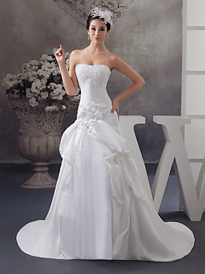 cheap Wedding Dresses-A-Line Wedding Dresses Strapless Court Train Satin Strapless with Beading Appliques 2020