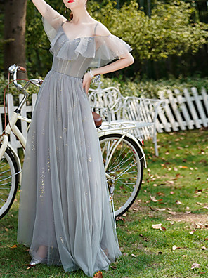 cheap Bridesmaid Dresses-A-Line V Neck Floor Length Chiffon Bridesmaid Dress with Lace / Ruffles