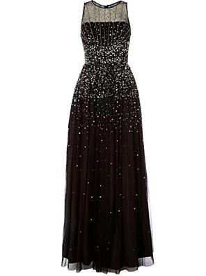 cheap Prom Dresses-A-Line Elegant Prom Dress Jewel Neck Sleeveless Floor Length Tulle with Pleats 2020