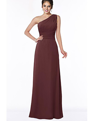 cheap Bridesmaid Dresses-A-Line One Shoulder Floor Length Chiffon Bridesmaid Dress with Ruching