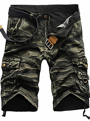 cheap Hiking Trousers & Shorts-Men's Streetwear Loose Cotton Shorts Tactical Cargo Pants Solid Color Camouflage Black Red Army Green 29 30 31