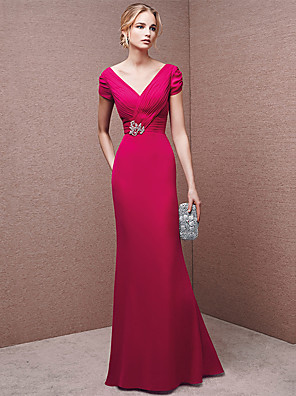 cheap Wedding Dresses-A-Line Sexy Formal Evening Dress V Neck Short Sleeve Floor Length Chiffon with Crystals 2020